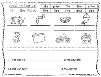 Spelling & Word Work Station Activities List 20 Long i words -TEKS