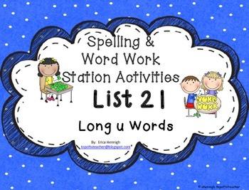 Spelling & Word Work Station Activities List 21 Long U Wor