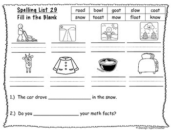 Spelling & Word Work Station Activities List 29 oa and ow Words -TEKS