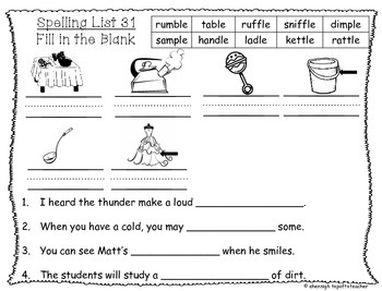 Spelling & Word Work Station Activities List 31 Final -le Words-TEKS