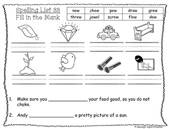 Spelling & Word Work Station Activities List 33 ew Words -TEKS