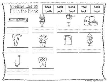 Spelling & Word Work Station Activities List 35 oo words -TEKS