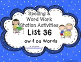 Spelling & Word Work Station Activities List 36 ow and ou words -TEKS