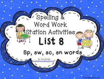 Spelling & Word Work Station Activities List 8 Blends: Sp,