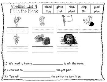 Spelling & Word Work Station Activities List 9 Blends: Bl,Cl,Fl,Pl,Gl -TEKS