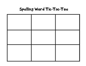 Spelling Word Work Tic Tac Toe