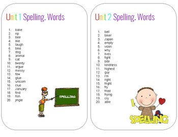 Spelling Words- 2nd Grade; Unit 1 & 2