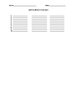 Spelling Words 3 times each worksheet