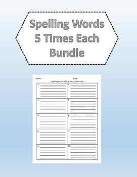 Spelling Words 5 Times Each Bundle