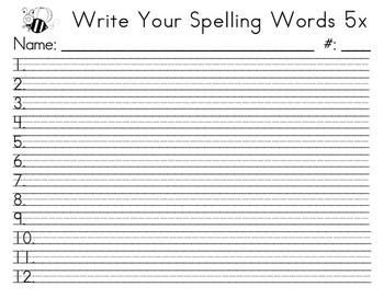 Spelling Words 5x - upper grades