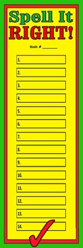 Spelling Words Fill-In Poster