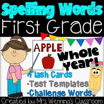 Spelling Words (editable) - Whole Year! Just click & print!
