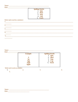 Spelling Words Homework Template