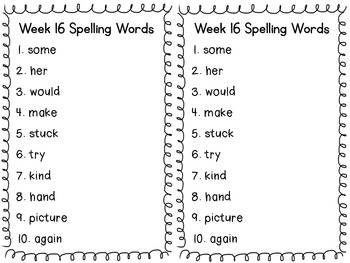 Spelling Words & Letters to Parents