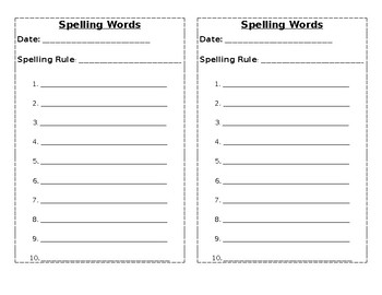 Spelling Words List