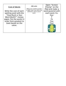 Spelling Words Menu