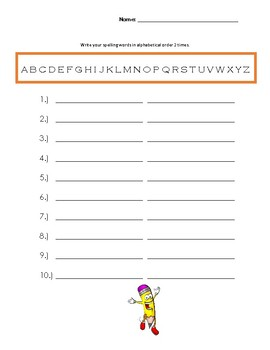 Spelling Words Practice Packet