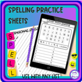 Spelling Words Practice Sheet