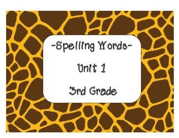 Reading Street Spelling Words Unit 1-Grade 3 (Giraffe Print)