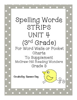 Spelling Words Strips for McGraw-Hill Wonders UNIT 4 Grade 3