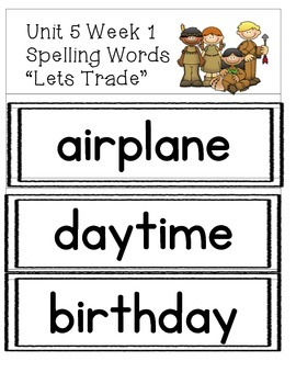 Spelling Words Strips for McGraw-Hill Wonders UNIT 5 Grade 3