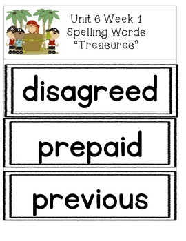 Spelling Words Strips for McGraw-Hill Wonders UNIT 6 Grade 3
