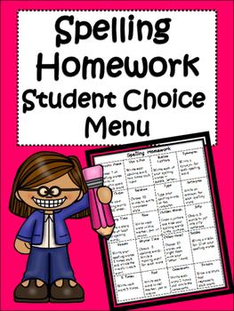Spelling Words: Student Choice Homework Menu