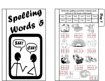 Spelling Words Tab It Focus: CH and SH