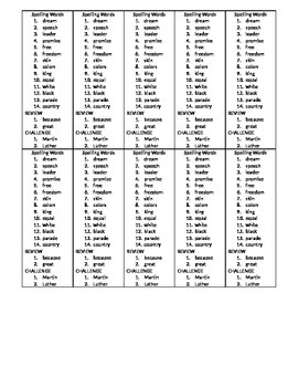 Spelling Words Template