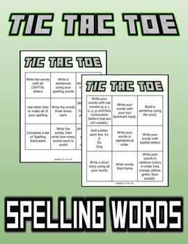 Spelling Words Tic-Tac-Toe (KG - Grade 5)