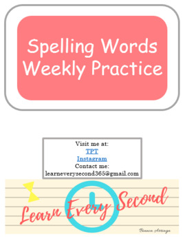 Spelling Words Weekly Practice