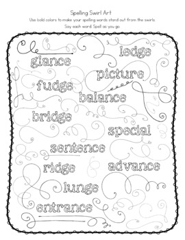 Spelling  Words ending in ce and ge  + dge - Lists, Games, Activities