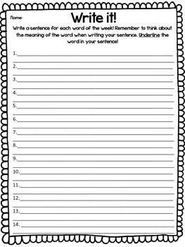 Spelling Words of the Week Activities