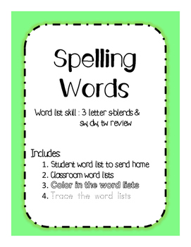 Spelling Words s-blends, sw, tw, dw review
