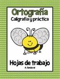 Spelling Work Penmanship Practice in Spanish Ortografia caligrafia