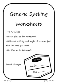Spelling Workbook- up to 10 words