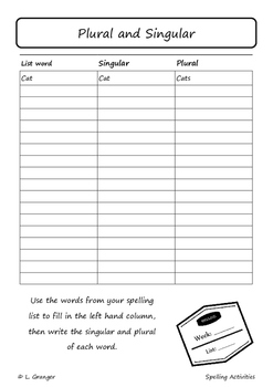 Spelling Workbook- up to 20 words