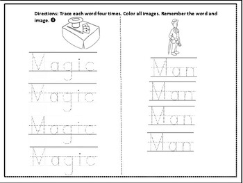 "Spelling Worksheet Packet - ""M words"""
