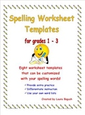 Spelling Worksheet Templates Pack! Customize with your words for grades 1-3
