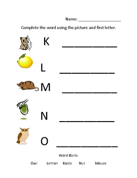 Spelling Worksheet with Wordbank for younger learners