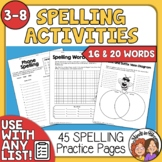 Spelling Activities for Any List of Words Spelling Practice, Centers, Word Work