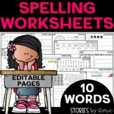 Spelling Worksheets Bundle for 10 Words