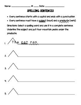 Spelling Worksheets & Homework Templates