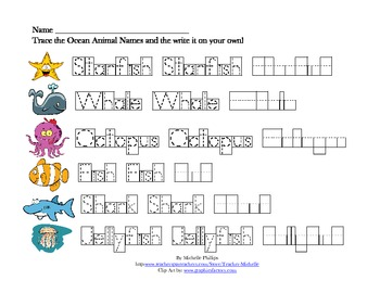 spelling worksheets ocean animal names by teachers with a budget. Black Bedroom Furniture Sets. Home Design Ideas