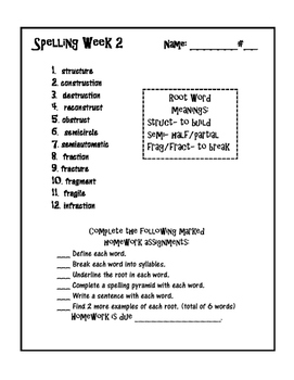 Spelling Words - Root Words and Character Traits - 15 weeks