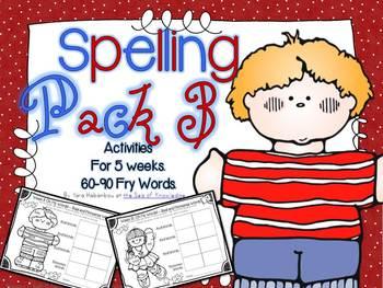 Spelling & Writing Activities 5 Weeks Pack 3 {Fry's 60-90 sight words}