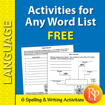 Spelling & Writing Activities for Any Word List {Freebie}