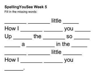 Spelling You See Wild Tales Week 5 Additional Worksheets
