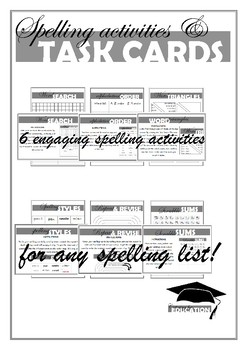 Spelling activities and Task cards NO PREP NO FUSS JUST PRINT