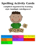 Spelling activity cards for any list, sorted by learning style